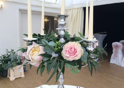Candelabra Peonies and Roses