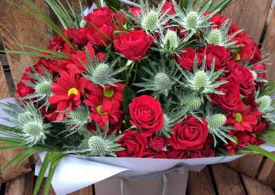 Flowershed Bouquet Red Roses and Thistles